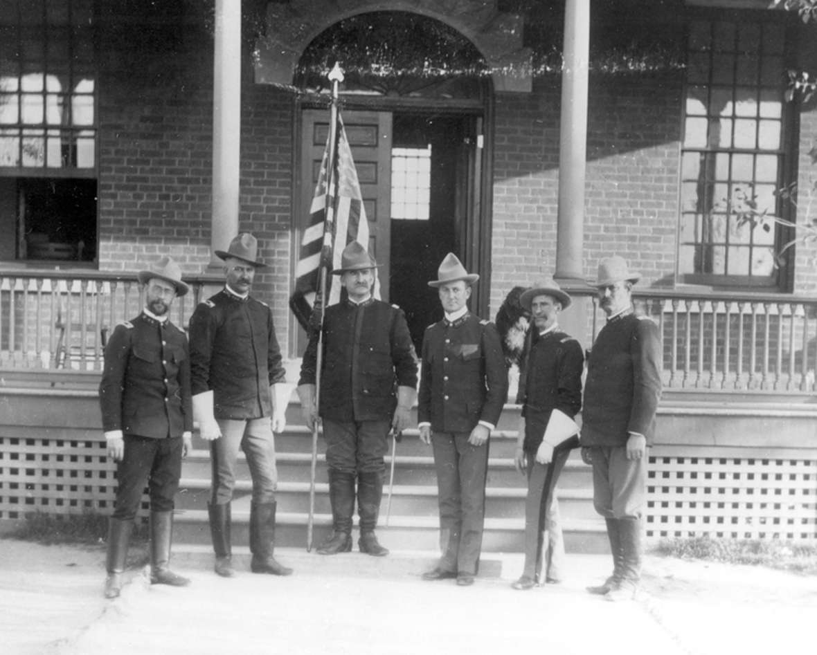 Lt. Col. Jay L. Torrey, center, and the officers of his staff at Fort D.A. Russell near Cheyenne, probably spring 1898. Wyoming State Archives.