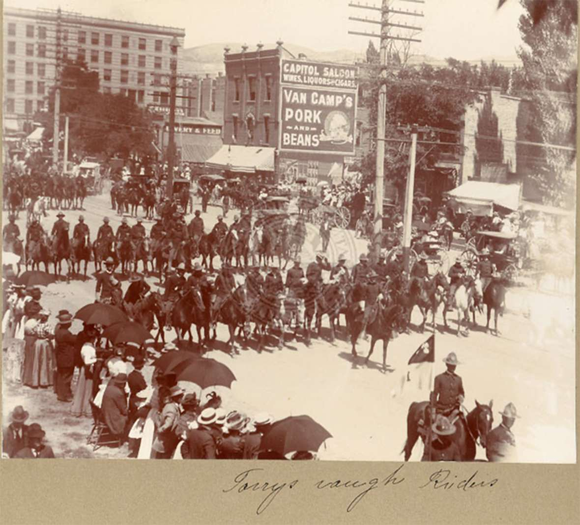 Members of Torrey's Rough Riders on parade in Salt Lake City. These may be the Utah units of the Second Volunteer Cavalry that returned to Salt Lake in August 1898. Marriott Library, University of Utah.