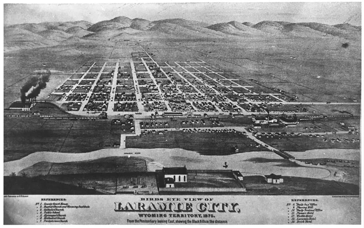 An artist's bird's-eye view of Laramie, 1875, looking east. Front Street, now called First Street, was closest to the tracks. Hayford, his wife Emma and their children lived slightly north of downtown, at the corner of what are now Fremont and Second streets. Wyoming State Archives. Click to enlarge.