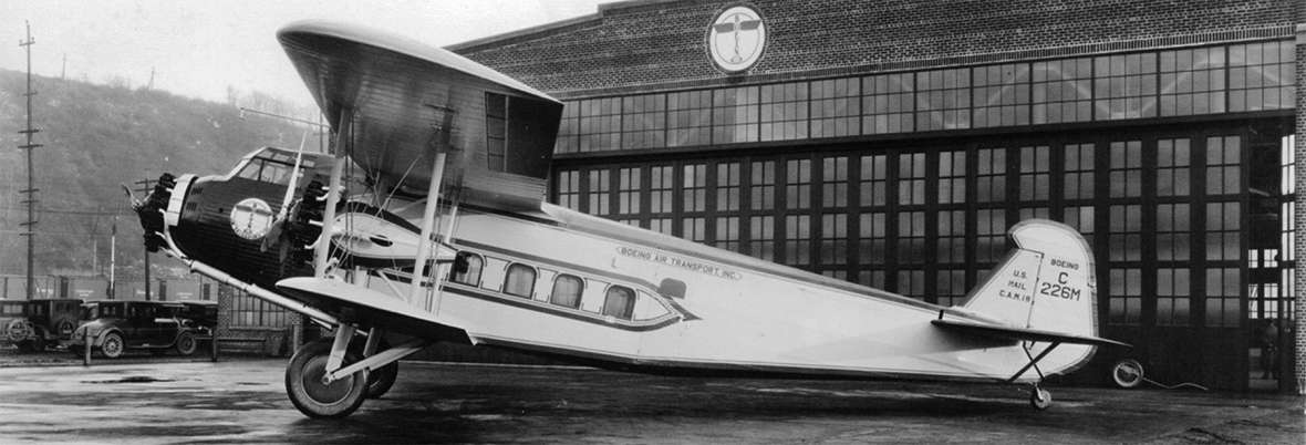Beginning in 1930, Boeing Air Transport stewardesses trained in the Boeing Model 80A, a three-engine biplane that could carry up to 12 passengers. Boeing photo.