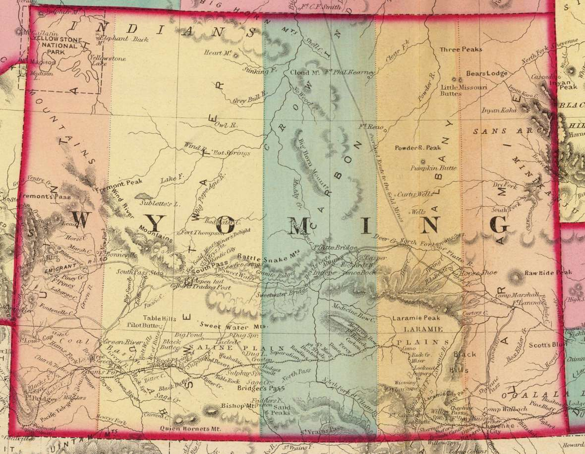 Wyoming Territory and its five counties, 1872. Can you find the main towns, one in each county, along the route of the Union Pacific Railroad? Wikipedia. Click to enlarge