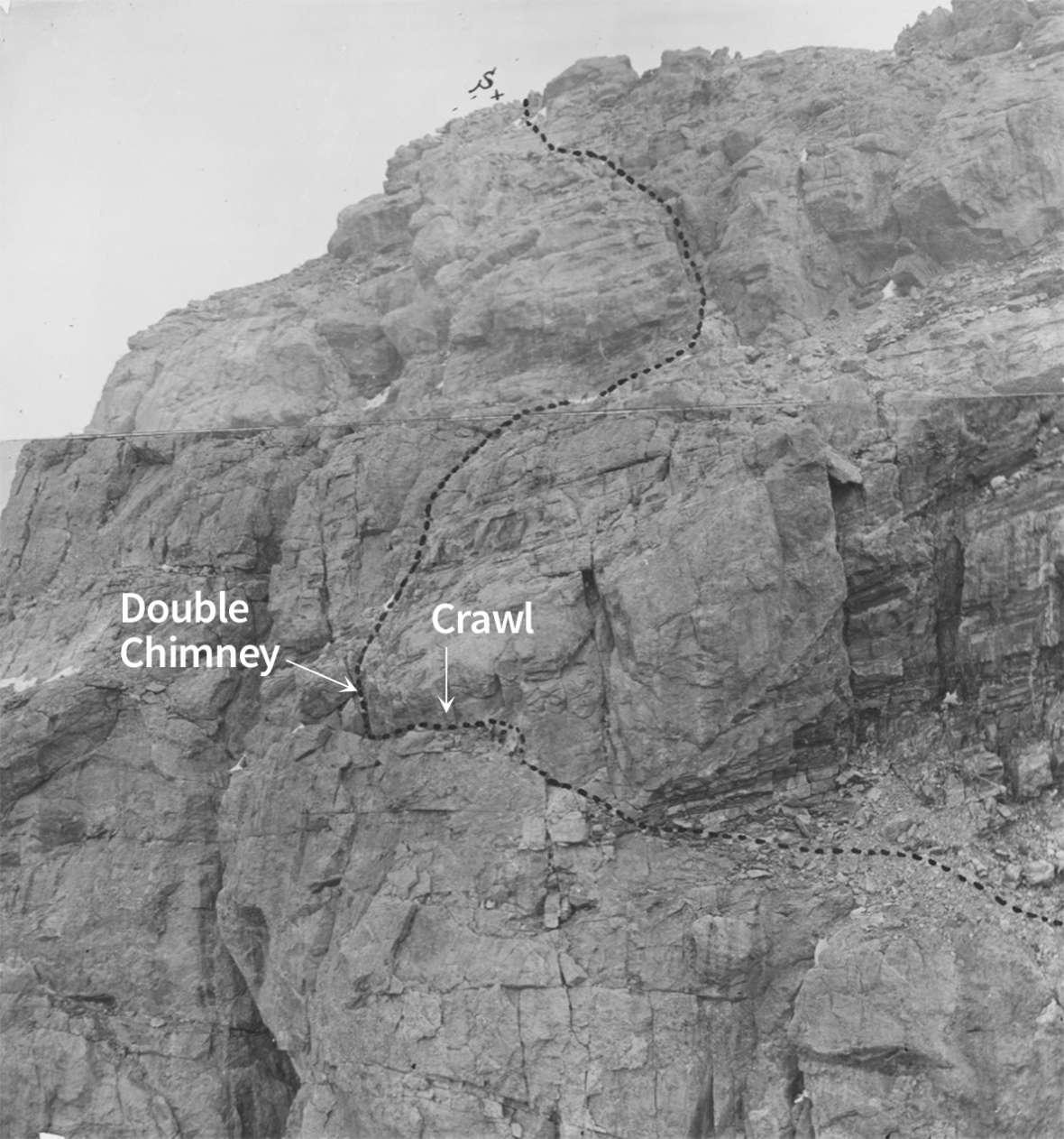 William O. Owen marked this composite photograph showing his party's path of ascent in 1898 with an 'S' to show the summit. Two of the more difficult stretches have been labeled with Owen's terms by the author. American Heritage Center.
