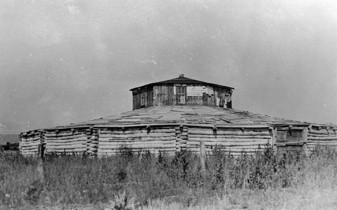 The log Council House on the south fork of the Little Wind River near Fort Washakie, one of three community halls on the reservation, saw social gatherings and council meetings at least into the 1950s. Riverton Museum.