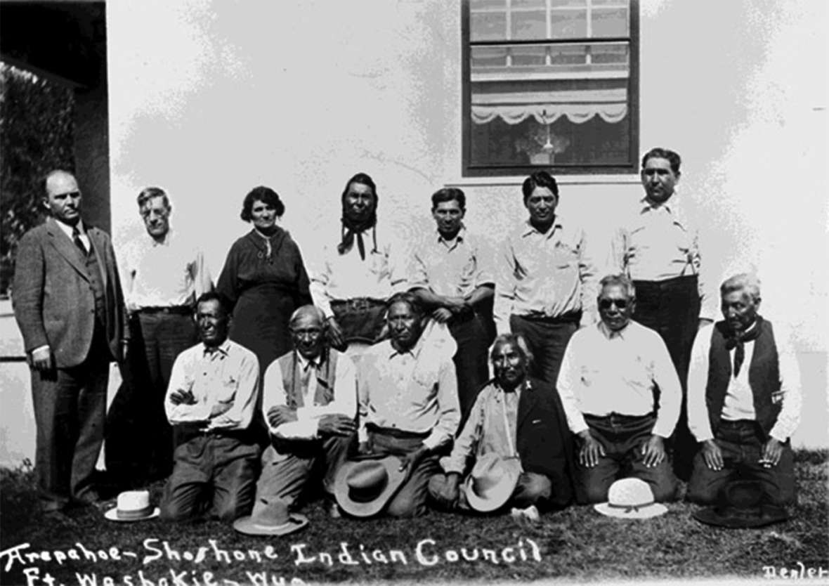 Members of the Arapaho-Shoshone Joint Business Council at Fort Washakie, no date. American Heritage Center.