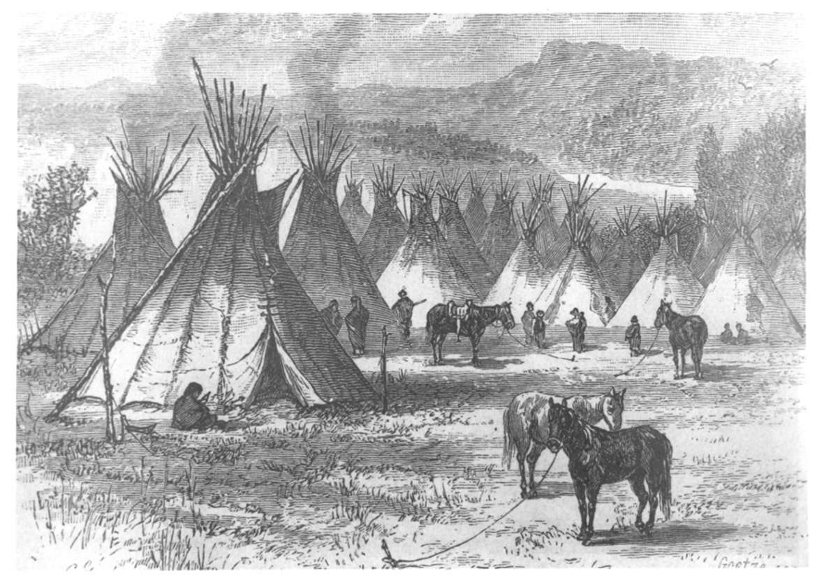 Harper's Monthly magazine published this image of an Arapaho village in March 1880--two years after the Northern Arapaho arrived on Wind River to stay. Wyoming State Archives.