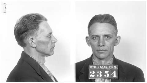 Bill Carlisle's prison mugshot, January 1935, a year before he was paroled and released a final time from the Wyoming State Penitentiary. Wyoming State Archives.