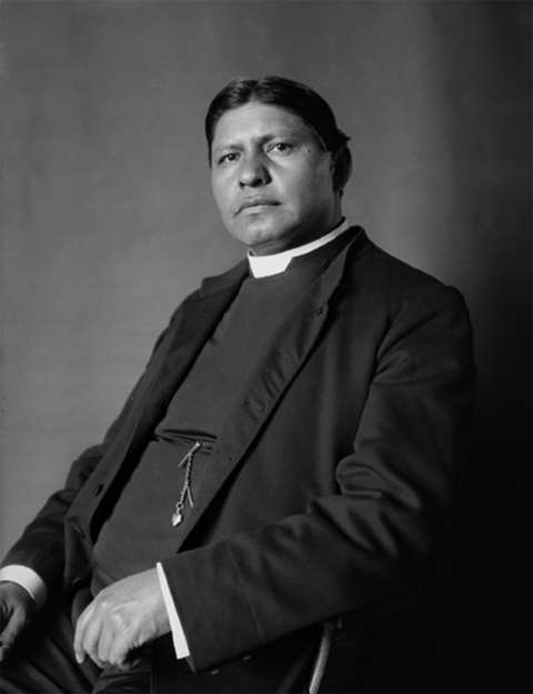 The Rev. Sherman Coolidge in 1902. Arapaho by birth, he spent 26 years on the reservation on Wind River, attempting and largely failing to convert his former tribe to Christianity. Wikipedia.