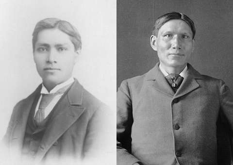 Yavapai physician Dr. Carlos Montezuma, left, and Santee Sioux physician and writer Charles Eastman, right, co-founded with Sherman Coolidge and others the Society of American Indians in 1911. Wikipedia.