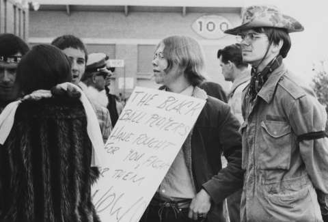 By the fall of 1969, when Loren Evans had been barred from school for two years, longer hair already was common among University of Wyoming students protesting the Black 14 incident. American Heritage Center.