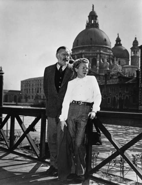 Hemingway and his fourth wife, Mary, in Venice. They met in London in 1944 and married in Cuba in 1946. Later that year, she suffered a miscarriage and emergency surgery in Casper, and survived. JFK Library.