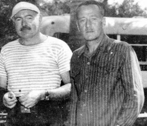 Hemingway and his longtime friend Richard Cooper, with whom he spent time in Wyoming, Cuba, Bimini and Tanganyika. Authors' Collection.