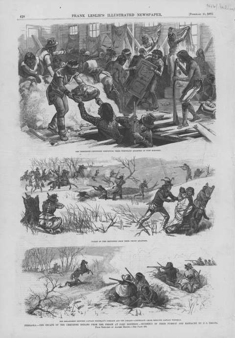 The Northern Cheyenne broke out of the barracks at Fort Robinson Jan. 9, 1879. Five weeks later, Frank Leslie's Illustrated newspapers published illustrations of the Cheyenne fortifying their barracks, their desperate flight, and a confrontation with the soldiers. History Nebraska. Click to enlarge.
