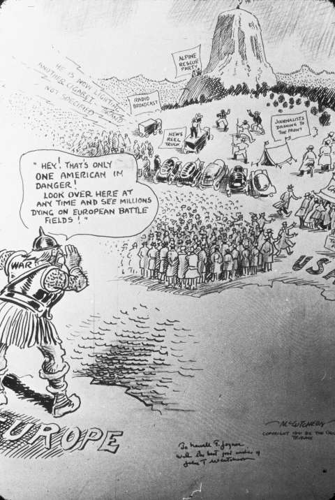 A cartoonist for the Chicago Tribune contrasted the trivialities of the Hopkins media frenzy with the war raging in Europe. NPS image.