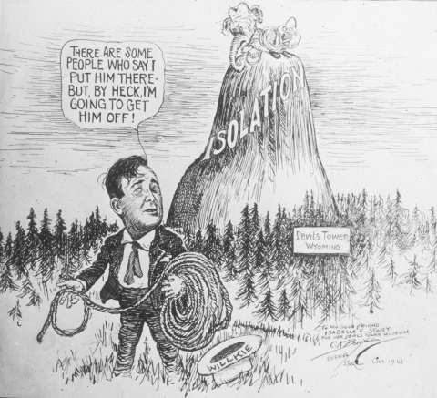 Hopkins's plight was so well known that a cartoonist could use it to show defeated presidential candidate Wendell Willkie as the Republican Party's best hope to rescue it from its own isolationism. NPS image.