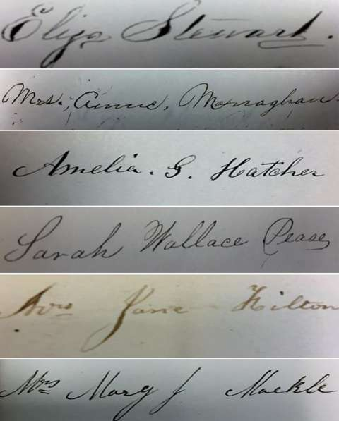 Signatures of the first women to serve on a jury in Wyoming. Lawyer Stephen Downey preserved the signatures in his autograph book. American Heritage Center.