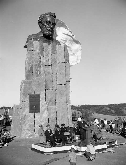Robert Russin's monumental bust of Lincoln was unveiled at the summit of U.S. 30 between Cheyenne and Laramie in 1959, to commemorate the former president's 150th birthday. In 1969 it was moved about a mile to a rest area on the new Interstate 80. University of Wyoming photo service.