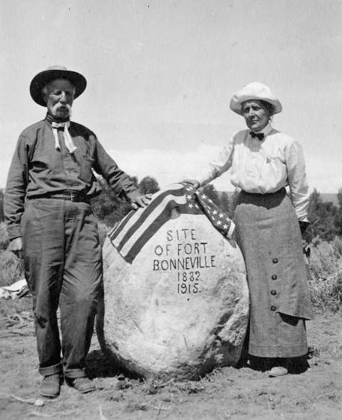 Longtime Fremont County legislator Herman Nickerson and University of Wyoming Prof. Grace Raymond Hebard marked a great many historic sites around the state. American Heritage Center.
