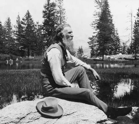John Muir in Yellowstone about 1902. Library of Congress.