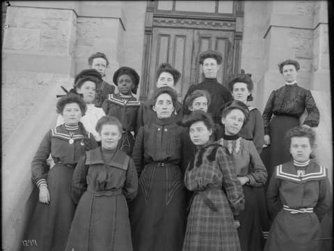School of Music students at the University of Wyoming, 1904. Carrie Burton, about 16 years old, stands toward the left in the third row up, wearing her UW cadet's uniform. American Heritage Center, University of Wyoming.
