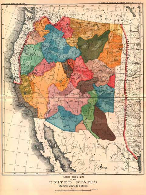 Powell thought of the West in terms of its scarce water as well as its lands. Here, his map of the region's watersheds, from 'Report on the Lands of the Arid Regions …', 1878. Mapped in Wyoming Territory are the drainages of the Yellowstone (dark olive), Missouri (orange), North Platte (pale pink), Green (red and pink) and Snake (blue) rivers. John F. Ross collection.