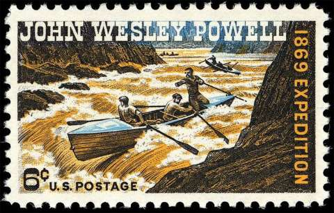 A stamp issued in 1969 commemorated the 100th anniversary of Powell's first descent of the Green and Colorado rivers. May 24, 2019, marks the 150th anniversary of his launch. Wikipedia.