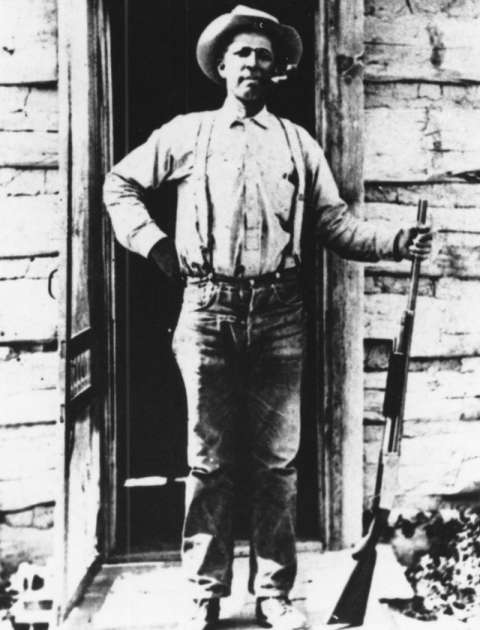 Alonzo 'Lon' Stepp, shown here in an undated photo probably at his homestead, He first came to the Green River Valley in 1893, when he was 19. American Heritage Center.