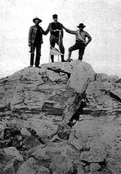 Three of the four members of Billy Owen's party who climbed the Grand Teton in 1898. Left to right, John Shive, Franklin Spalding and Frank Petersen. Owen took the photo. Wyoming Tales and Trails.