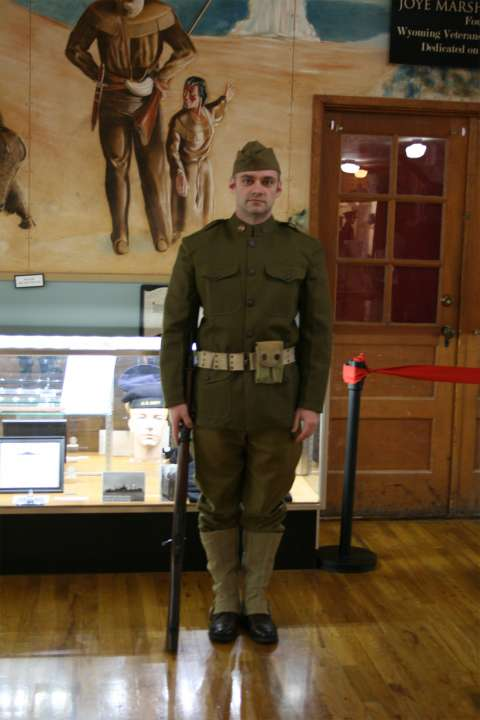 Doughboy reenactor Tristan Berkemeier in uniform. Wyoming Veterans Memorial Museum.