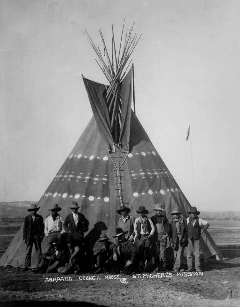 For a time, at least, a tipi served as a council house for the Arapaho at St. Michael's Mission at Ethete. Charles Sproul photo, Riverton Museum