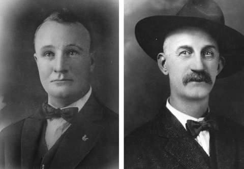 Edward Woodson surrendered to Union Pacific Special Agent Matt McCourt, left; McCourt took him to the courthouse and turned him over to Sweetwater County Sheriff Arthur Dixon, right, at the jail. But Dixon and his deputy would prove unable to protect Woodson from the mob. Sweetwater County Historical Museum.