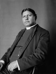 Sherman Coolidge, a Northern Arapaho who had been raised by whites, educated in the East and returned to the reservation as an Episcpal priest, spoke for the government's position during negotiations for the land north of the Big Wind River. Wikipedia.
