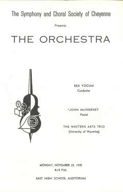 Program for the Cheyenne concert featuring Beethoven's work in the fall of 1970. Cheyenne Symphony Orchestra. Click to enlarge and read the entire program.