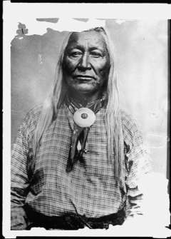 Chief Washakie, shown here, and the Eastern Shoshone preferred cash for the sale of the hot springs. Library of Congress.