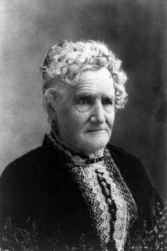 Esther Hobart Morris was in her late 50s when she was appointed justice of the peace in South Pass City, Wyoming Territory, in 1870. '[I]n performing these duties I do not know as I have neglected my family any more than in ordinary shopping,' she wrote the following year, 'and I must admit that I have been better paid for the services rendered than for any I have ever performed.' Wikipedia.