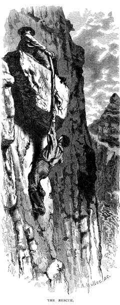 An artist's version of Powelll's dramatic rescue in the Grand Canyon, July 1869. Scribner's Monthly.