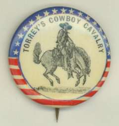 A button for rough rider fans, ca. 1898. American Heritage Center.