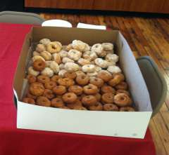 Doughnuts made from the World War I Salvation Army recipe. Wyoming Veterans Memorial Museum.