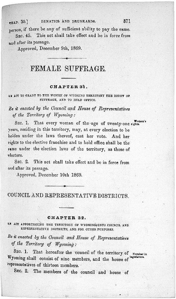 right choice wrong reasons wyoming women win the right to vote the wyoming territorial legislature gave women the right to vote late in 1869 and gov john campbell signed it into law dec 10 library of congress